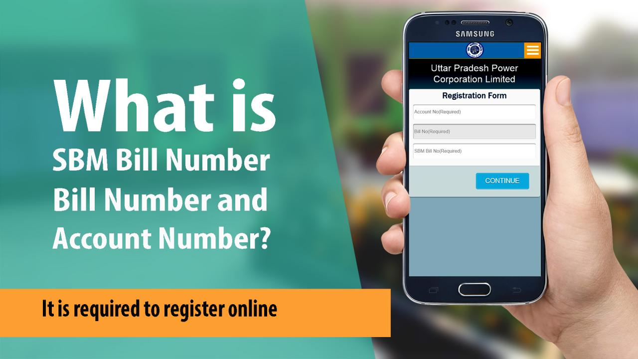 Where to find SBM bill number and account number to register online